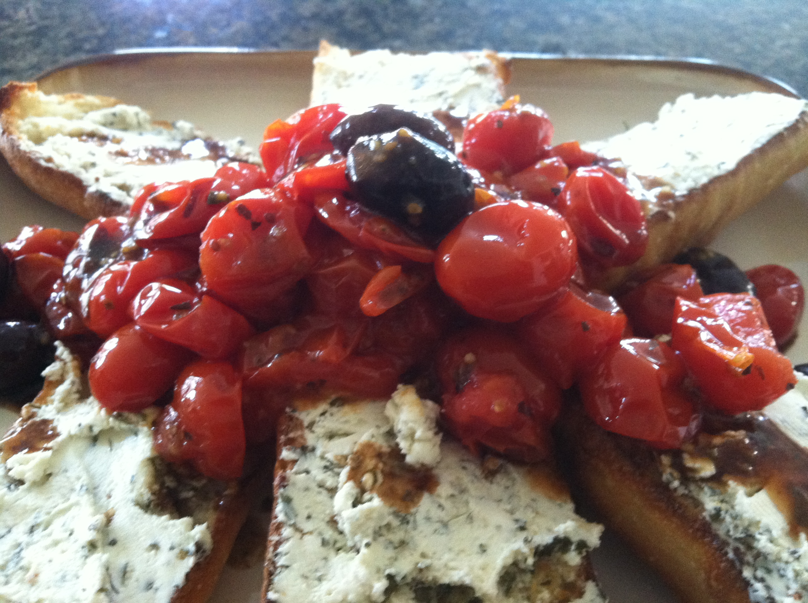 French Bread w/ Goat Cheese and Oven Roasted Tomatoes