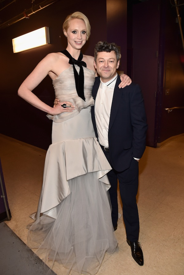 HOLLYWOOD, CA - DECEMBER 14:  Actors Gwendoline Christie (L) and Andy Serkis attend the World Premiere of ?Star Wars: The Force Awakens? at the Dolby, El Capitan, and TCL Theatres on December 14, 2015 in Hollywood, California.  (Photo by Alberto E. Rodriguez/Getty Images for Disney) *** Local Caption *** Gwendoline Christie;Andy Serkis