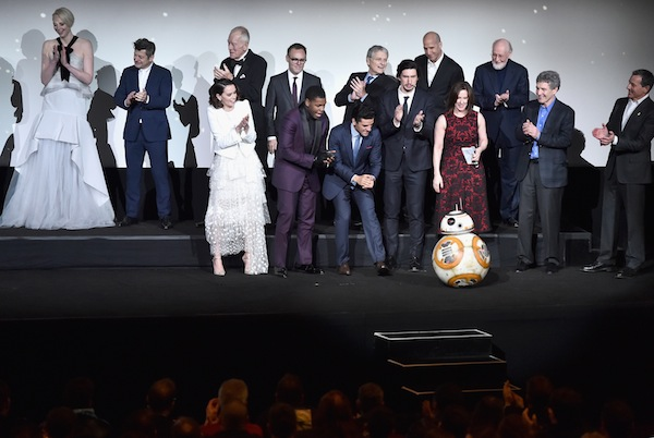 HOLLYWOOD, CA - DECEMBER 14:  The cast and crew speak onstage during the World Premiere of ?Star Wars: The Force Awakens? at the Dolby, El Capitan, and TCL Theatres on December 14, 2015 in Hollywood, California.  (Photo by Alberto E. Rodriguez/Getty Images for Disney)
