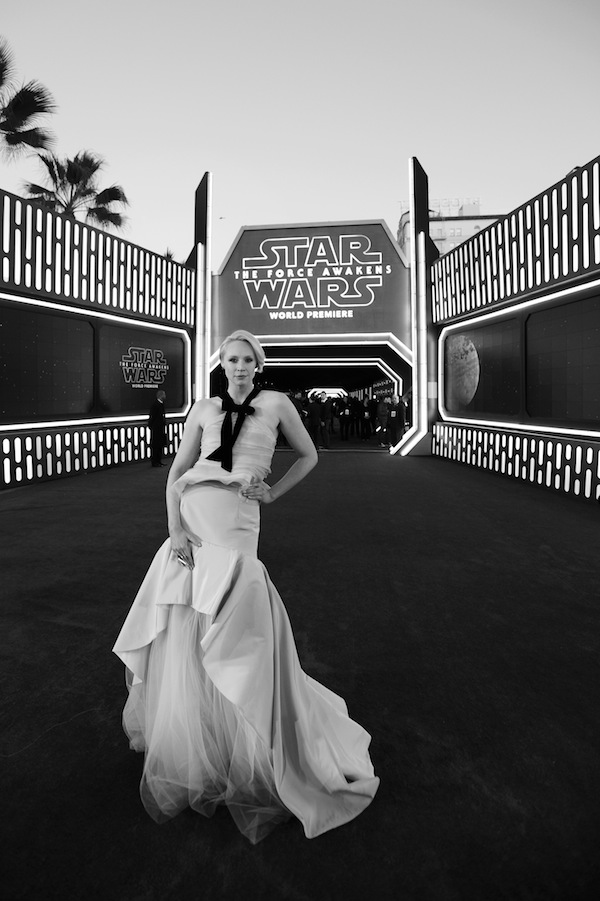 HOLLYWOOD, CA - DECEMBER 14:  (EDITORS NOTE: Image has been shot in black and white. Color version not available.) Actress Gwendoline Christie attends the World Premiere of ?Star Wars: The Force Awakens? at the Dolby, El Capitan, and TCL Theatres on December 14, 2015 in Hollywood, California.  (Photo by Charley Gallay/Getty Images for Disney) *** Local Caption *** Gwendoline Christie