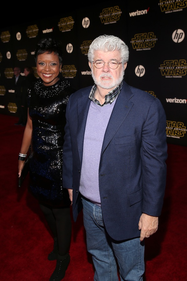 HOLLYWOOD, CA - DECEMBER 14: Chairman of the Board of Directors of Dreamworks Animation Mellody Hobson (L) and director George Lucas attend the World Premiere of ?Star Wars: The Force Awakens? at the Dolby, El Capitan, and TCL Theatres on December 14, 2015 in Hollywood, California.  (Photo by Jesse Grant/Getty Images for Disney) *** Local Caption *** Mellody Hobson;George Lucas