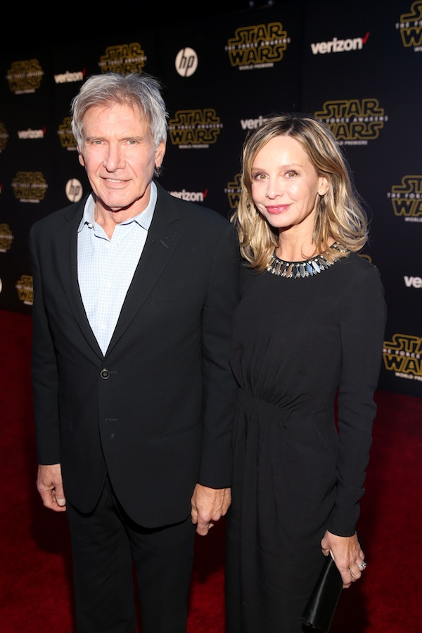 HOLLYWOOD, CA - DECEMBER 14:  Actors Harrison Ford (L) and Calista Flockhart attend the World Premiere of ?Star Wars: The Force Awakens? at the Dolby, El Capitan, and TCL Theatres on December 14, 2015 in Hollywood, California.  (Photo by Jesse Grant/Getty Images for Disney) *** Local Caption *** Harrison Ford;Calista Flockhart