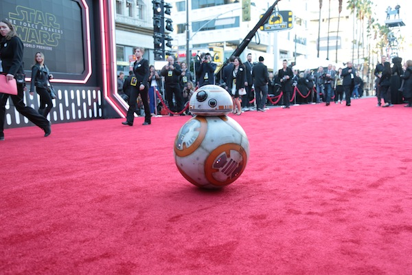 "BB-8 arrives as Walt Disney Pictures and Lucasfilm's presents ""Star Wars: The Force Awakens"" World Premiere in Hollywood, California on Monday, December 14, 2015..(Photo: Alex J. Berliner/ABImages)"